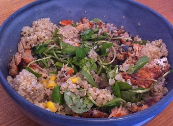 Quinoa salad with watercress, mackerel, sweetcorn and nori flakes