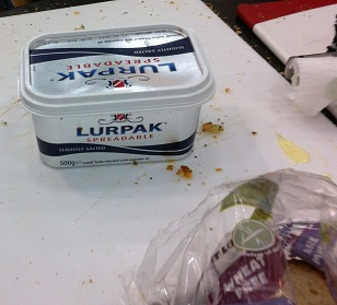 Lurpak with gluten free bread at allergy show