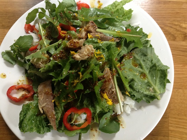 Danedlion leaf and flower salad