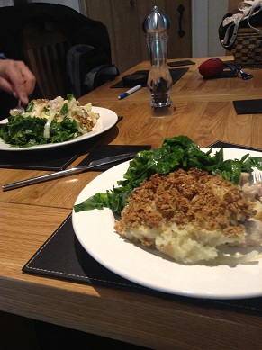Delicious Genius gluten and dairy free pie with spring greens