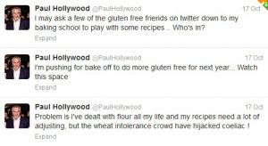 Paul Hollywood tweets about gluten free