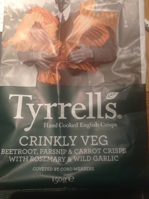Tyrells Vegetable crisps with Rosemary and garlic contain cheese powder