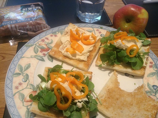Newburn Bakehouse Sandwich thins with humous, watercress and pepper