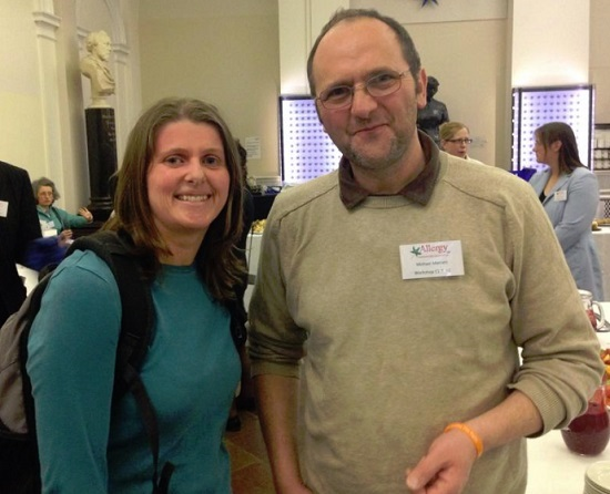 Ruth Holroyd of What Allergy? at the Allergy UK Conference 2014 with Michael Merrett of Allergy Essex.