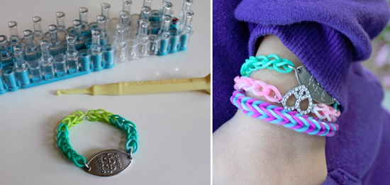A very clever use of loom bands to make a medicalert bracelet