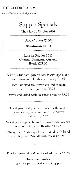 The Alford Arms menu - freefrom nuts, dairy, soya, wheat, celery and tomato