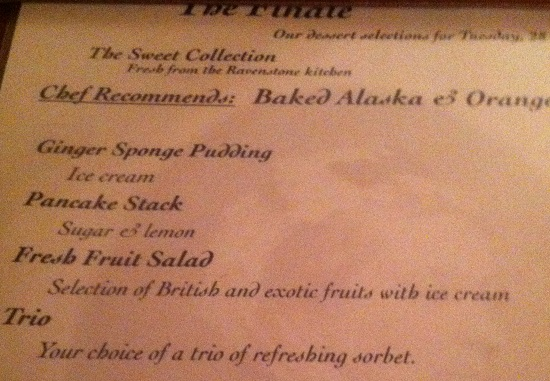 The freefrom puddings on the menu during our stay at Ravenstone Manor
