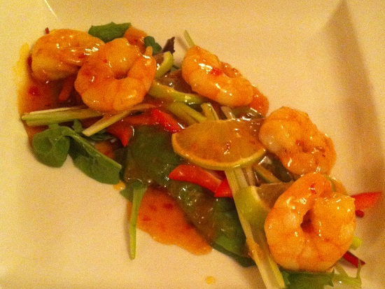 Prawn with honey glaze and fresh salad