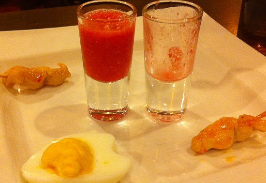 Eggs and prawns and some berry smoothy to start