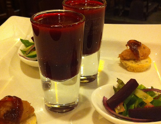 Beetroot smoothie, mini salad and gluten free crouton with pate