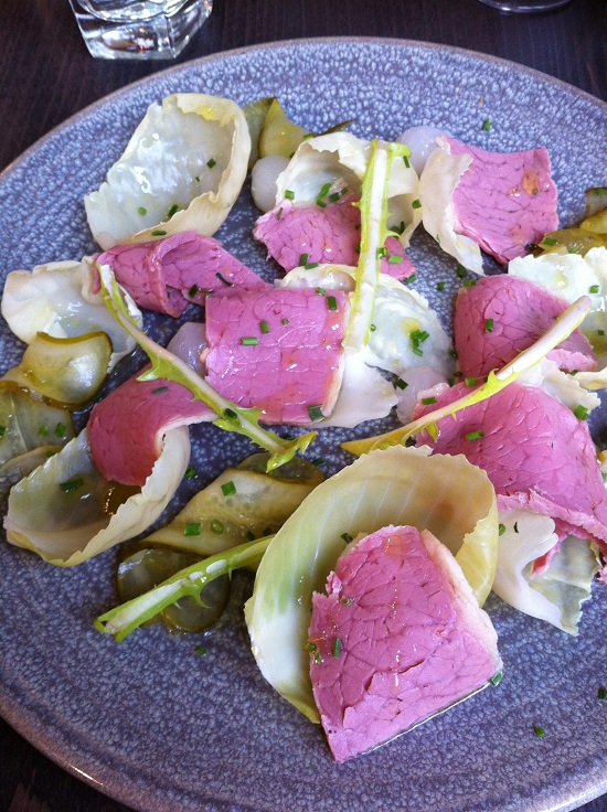 Salted Beef salad with cabbage, gherkins and cournichons #freefreemTop14allergens