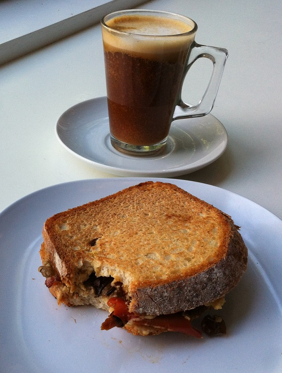 Gluten and dairy free toasted sandwich with roasted vegetables and caramelised onion
