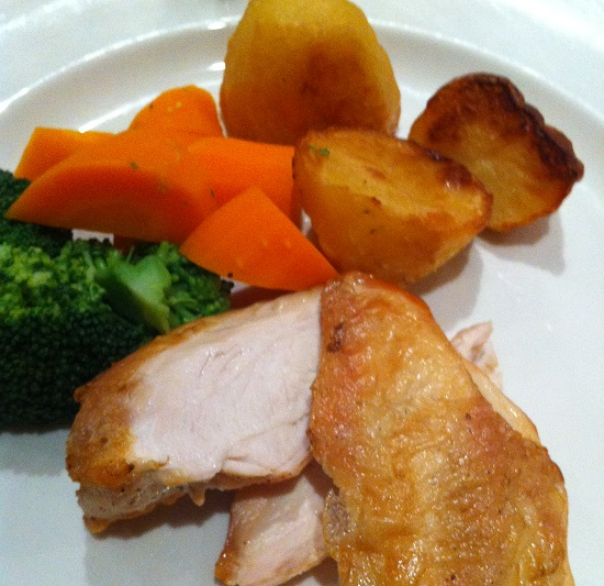 Wheat, dairy, nut, celery free main course - Chicken and roast potato and vegetables