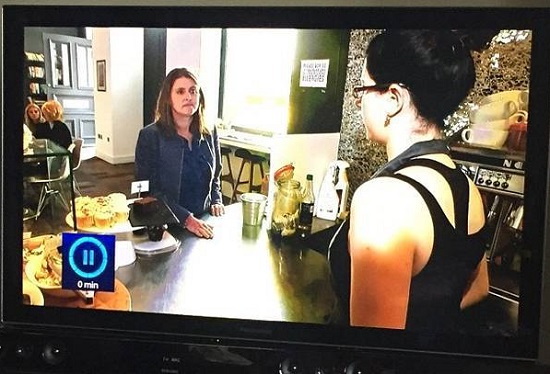 Me looking downright miserable live on ITV news, talking about eating out with allergies at PrintWorks Kitchen