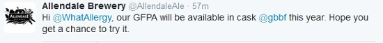 Allendale Brewery have confirmed their cask #GF beer will be at CAMRA beer festival