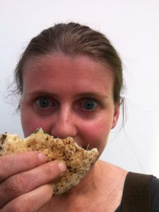 Me eating a BFree wheat, dairy and egg free pitta at the allergy show
