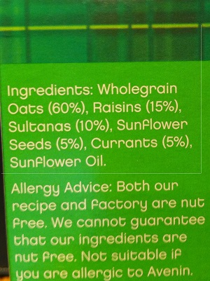 Nairn's don't bold oats in their labelling