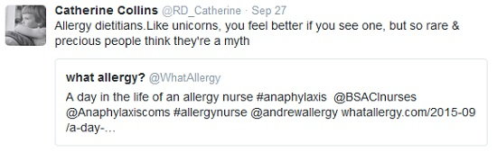 Catherine Collins is a full time NHS registered dietician. She tweeted this about allergy nurses