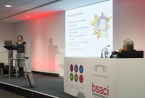Me at the BSACI talking about needle length of adrenaline auto-injectors
