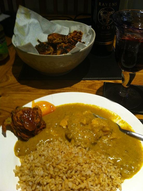 Homemade wheat and dairy free onion bhajis with ilumi cardamom curry and rice