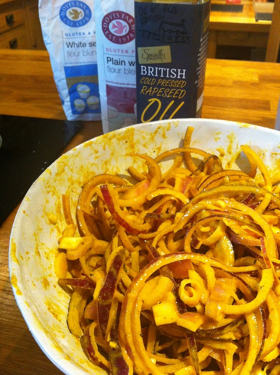 The gloopy #freefrom onion bhaji mixture. it's gluten and dairy free