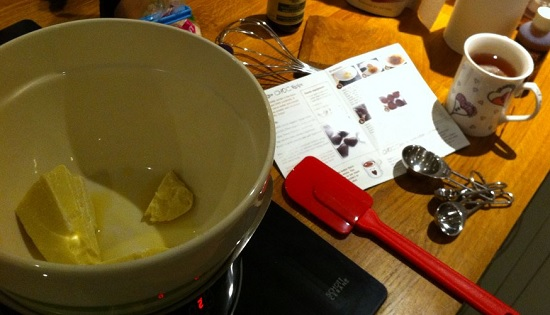Cacoa butter melting over a bain marie - ChocChick chocolate making
