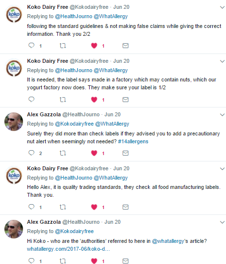 KoKo Dairy Free clarify their nut warning labels on Twitter