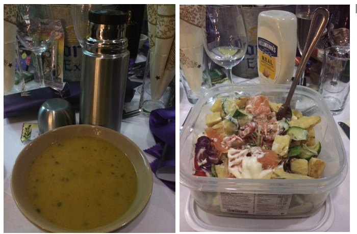 flask of soup and tub of salad